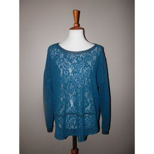 FREE PEOPLE Lace Sweater Small Teal Crochet
